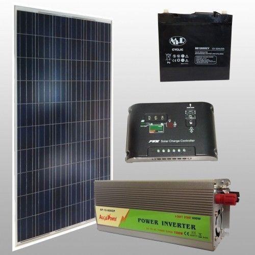 kit fotovoltaico solare baita da 100w 12v con batteria AGM