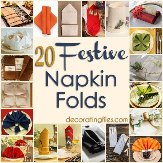 20 Festive Napkin Folds | Decorating Files | #napkinfolds #napkinfolding #tablesettings