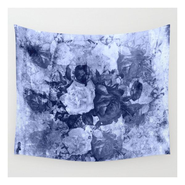 Old Roses In Light Blue Wall Tapestry (605 ARS) ❤ liked on Polyvore featuring home, home decor, wall art, wall tapestries, tapestry wall art, rose home decor, outside wall art, mounted wall art and interior wall decor