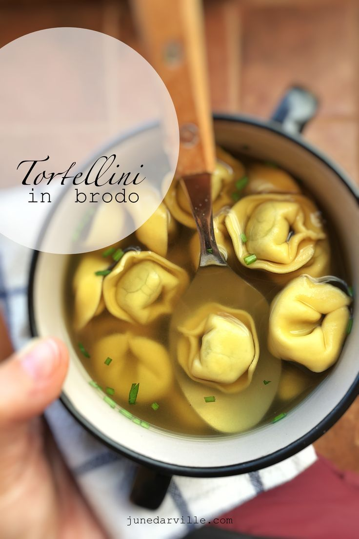 Italian tortellini in brodo is a great lunch soup that is filling enough but not too heavy on the stomach.