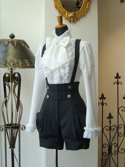 offbrand kodona ensemble black%2Fwhite shirt blouse shorts suspenders gothic_lolita gothic lolita japan fashion clothing ruffles bow