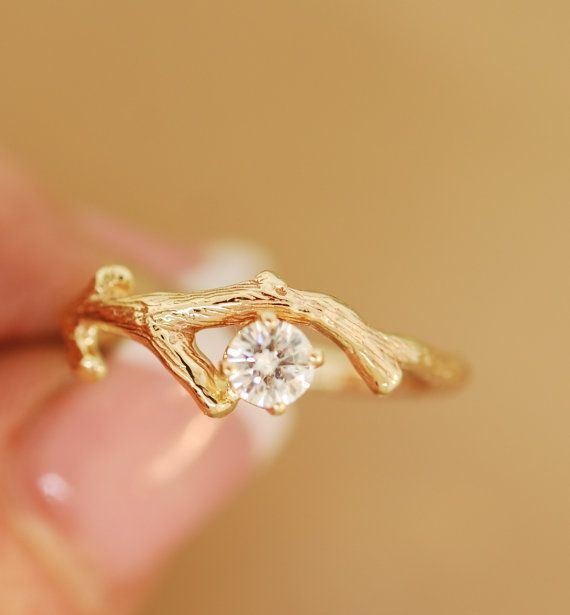 Moissanite Gold Bud Branchtwig ringengagement by TeriLeeJewelry