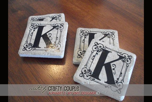 DIGITAL DOWNLOAD - a finished photo showing how the monogram embellishments @ My Vinyl Designer can be used on tile coasters (http://www.myvinyldesigner.com/Products/alphabet-3.aspx): Decals Ideas, Crafts Ideas, Dly Ideas, Gifts Ideas, Coster Ideas, Gift Ideas, Cricuit Ideas, Cameo Ideas, Wedding Gifts