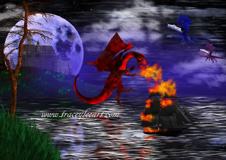 Dragon Attack – digital artwork by Tracey Lee Art Designs