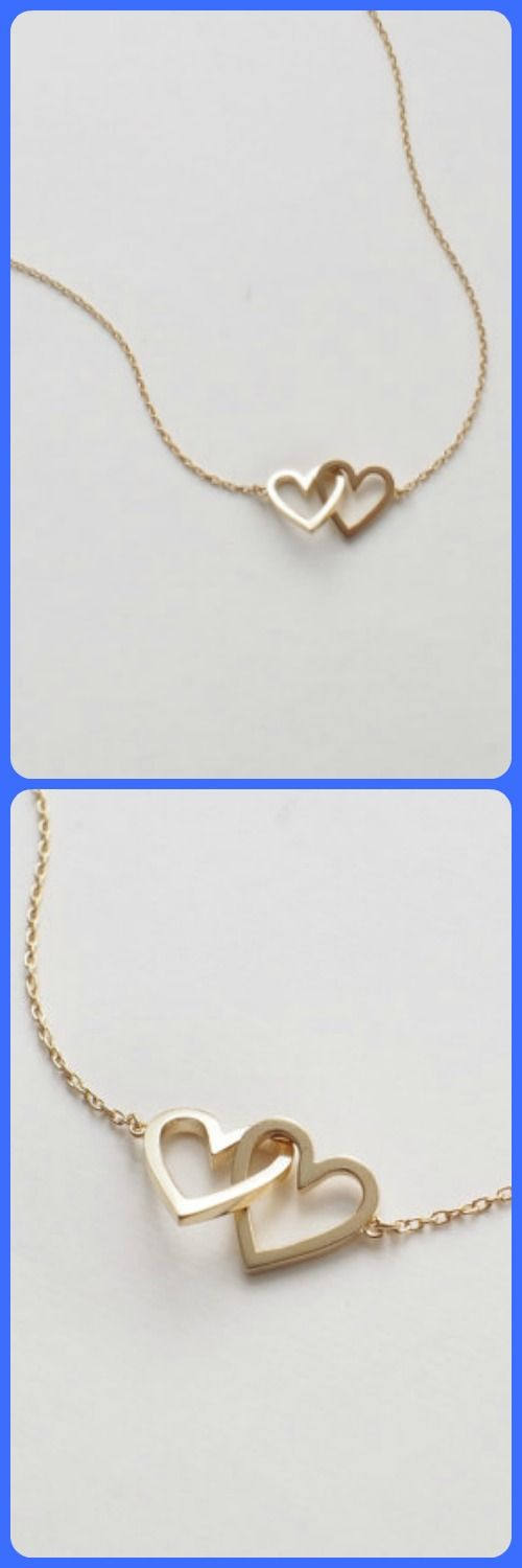 20% OFF Simple Double Heart Necklace, Dainty Heart Link Necklace, Minimal Layering Heart Necklace in Silver, Gold, Rose Gold #D96 #valentines #gift #heart #ad