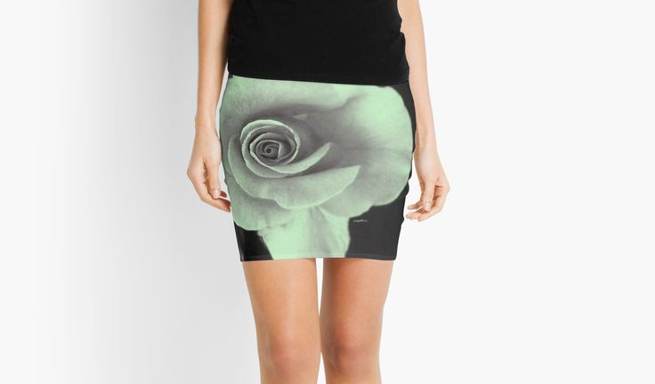 Rose With a Touch of Lime Mini Skirt by Polka Dot Studio, a #photograph of a rose, with #lime added for the hit of color, original #art on #fashion #apparel. Also available in #leggings, #T-shirts, drawstring #bags and more.