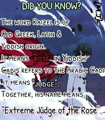 NOBLESSE . cadis etrama di raizel  did you know ..what does raizel name means?