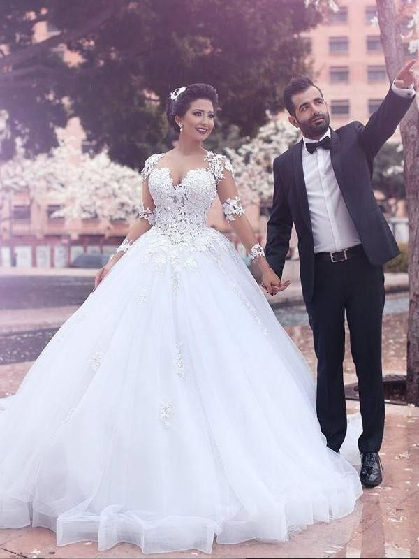 White See-Through Off Shoulder Long Sleeves Lace A-line Wedding Dresses Online, WD410