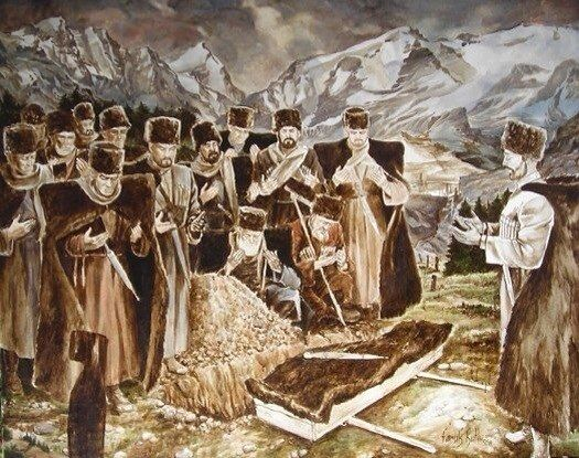 """""""The Highlander's Funeral"""". According to the old custom, when a man dies or dies in the Caucasus, his corpse is wrapped in a burka, and the dagger of the deceased is placed on top. The dagger symbolizes the dignity of a man. A man can not take away the dignity, so with him should be buried and his dagger / """"Похороны горца""""."""