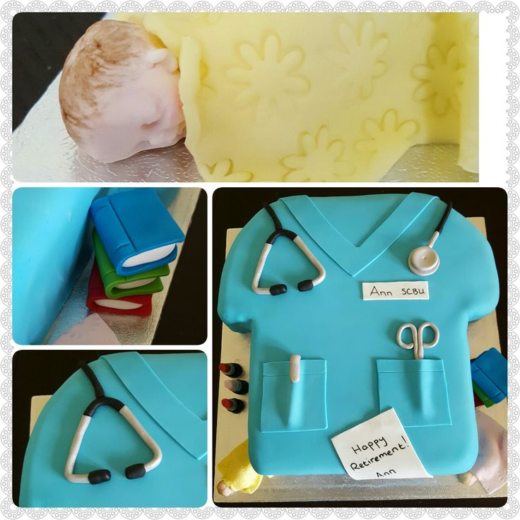 Nurse retirement cake with stethoscope, scissors, books, lipstick and fondant babies