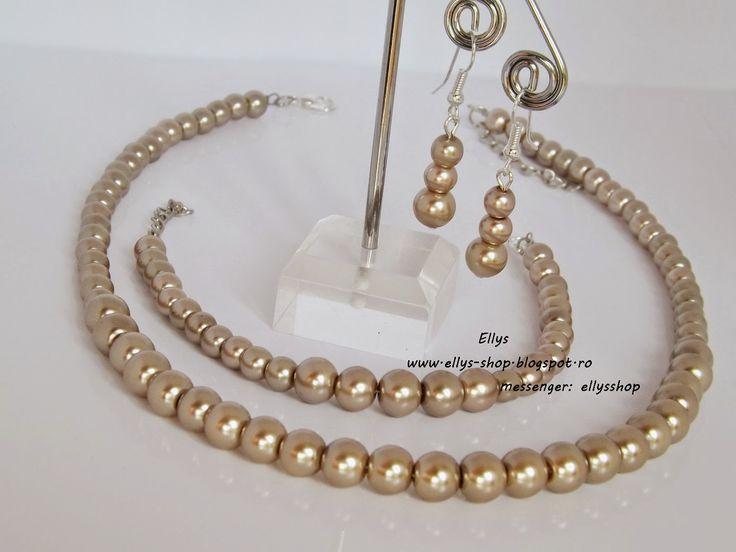 Ellys Shop: Set perle sticla- culoare: cafea cu lapte