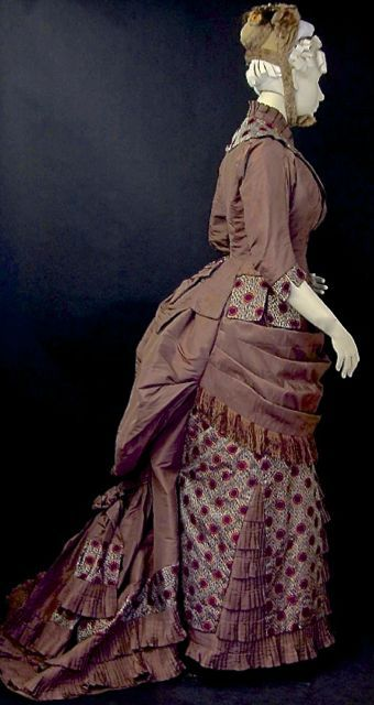 FC0314, brown silk taffeta and grey and garnet silk brocade dress, American, c. 1877