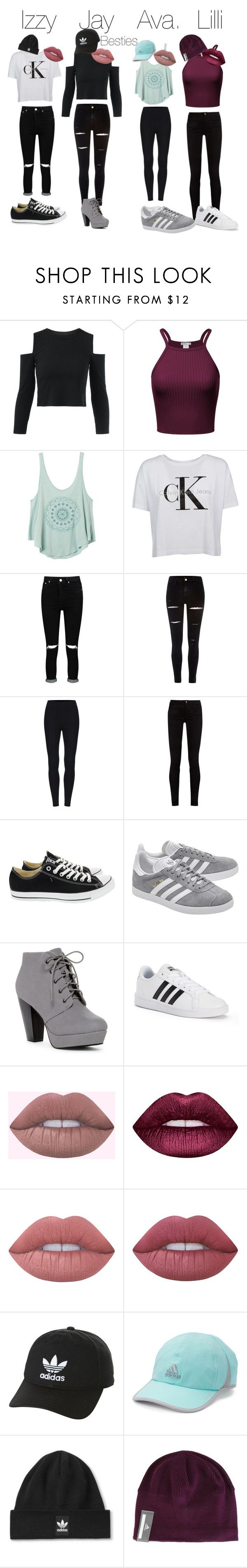 """Squad"" by isabella2845 ❤ liked on Polyvore featuring RVCA, Calvin Klein, Boohoo, River Island, Gucci, Converse, adidas Originals, adidas, Lime Crime and Topshop"