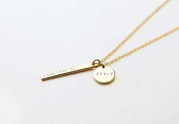 Personalized Vertical Bar Necklace with Name Disc / Coordinate and Name Bar…