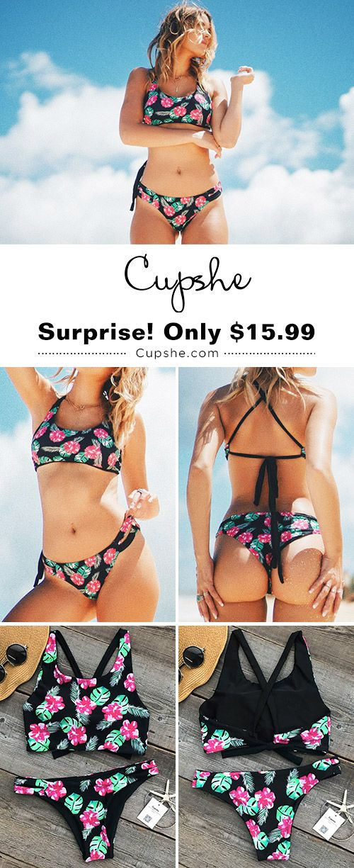 Suit Up! Cupshe has the hottest swimwear under the sun. In style in this Floral Bikini Set. Start your beach trip from this new print bathing suit.