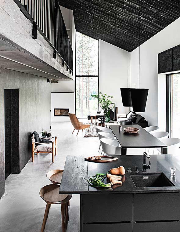 Industrial style kitchen and living area, Maja house at the Housing Fair in Hyvinkää.