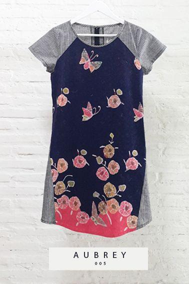 Aubrey 005 IDR 425.000 Comfy Cut Full Front View Batik Sack Dress.  Length of Dress : approx. 93 cm  Material used : (Front) Batik Tulis, Cotton / (Back) Chess Pattern, Cotton.  Standard zipper length (50-55cm) at the back.