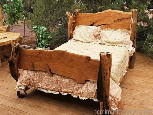 Juniper bed from awl western 500 375 rustic for Allan lake furniture