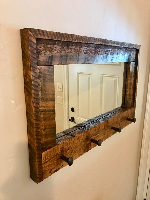 One Of My Favorite Pieces Carefully Handmade Entryway Mirror Coat Rack With 4 Railroad Spike Coat Hooks Out Barn Wood Mirror Wood Framed Mirror Wood Mirror