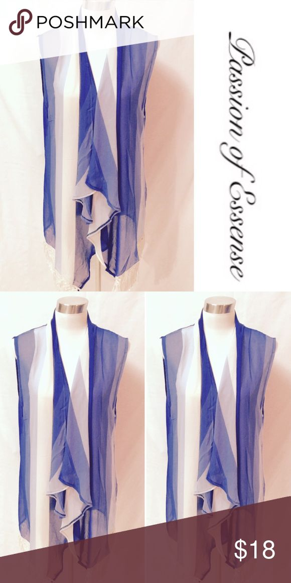 Blue and White Cardigan Vest Dress this blue and white  vest up with jeans, it has white fringes on the bottom to give you that full fashion style. Lida Collection Jackets & Coats Vests