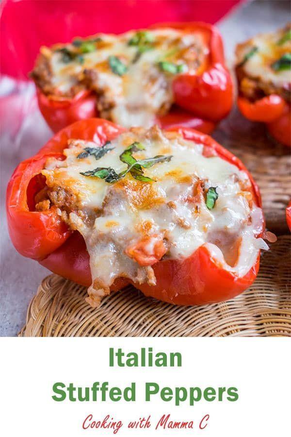 My Italian Stuffed Peppers Feature Ground Beef Rice And Onions With Marinara Pecorino Romano Mozzare Italian Stuffed Peppers Stuffed Peppers Italian Recipes