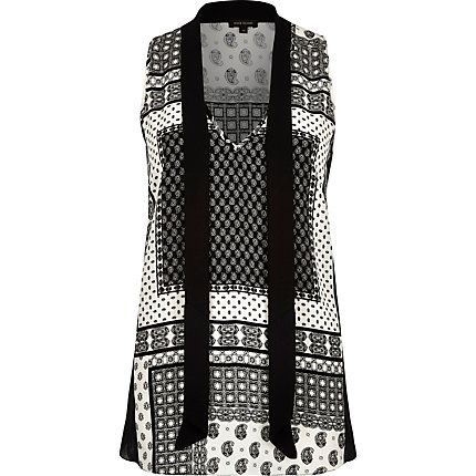 Black tile print pussybow sleeveless blouse £25.00