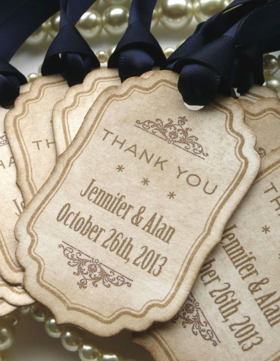 Navy Thank You Tags - Wedding Favor Personalised Labels with Bride and Groom Names - Set of 10