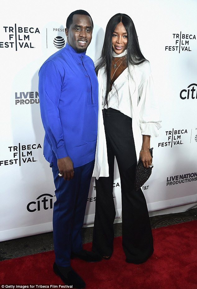 Good friends: Naomi Campbell was supporting her close friend Sean 'Diddy' Combs at the premiere of Can't Stop, Won't Stop: The Bad Boy Story in New York City on Thursday night, cosying up on the red carpet