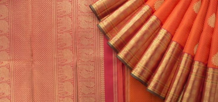 handwoven orange kanakavalli kanjivaram saree