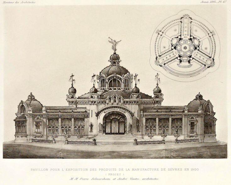 Design for a projected pavilion for the Manufacture de Sevres at the 1900 Exposition Universelle, Paris