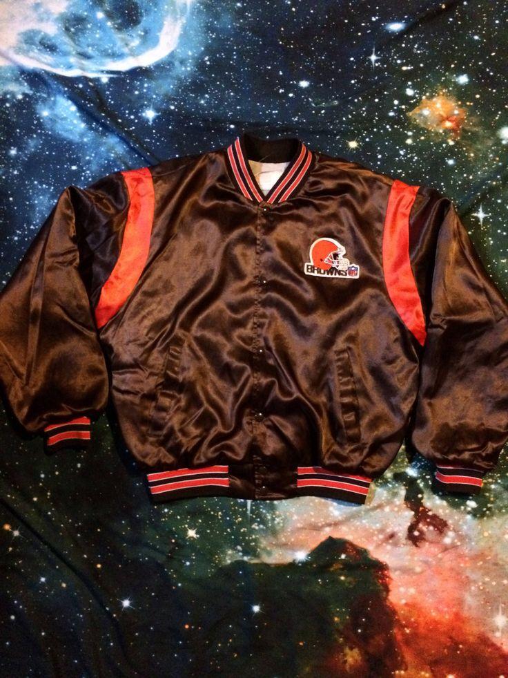 Vintage Cleveland Browns Satin Brown and Orange NFL Football Jacket by VintageVanShop on Etsy