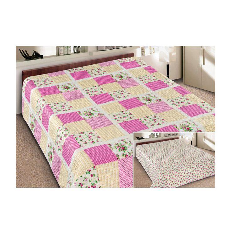 Tagesdecke Bettüberwurf zweiseitig Elegant 070 - Shabby Bettwäsche Steppdecke