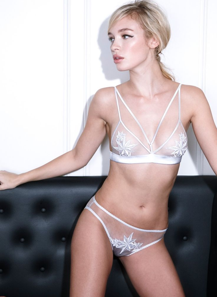 <p>Luxury and rebelliousnessisachieved in this boudoir bra with rich ebony silk, architectural strap detailing and decadent star-shaped embroidery. A sexy addition to your lingerie drawer. The Supernova panties feature a panel of sexy sheer Italian tulle and bespoke embroidery, a perfect match to the Supernova Boudoir bra.</p>