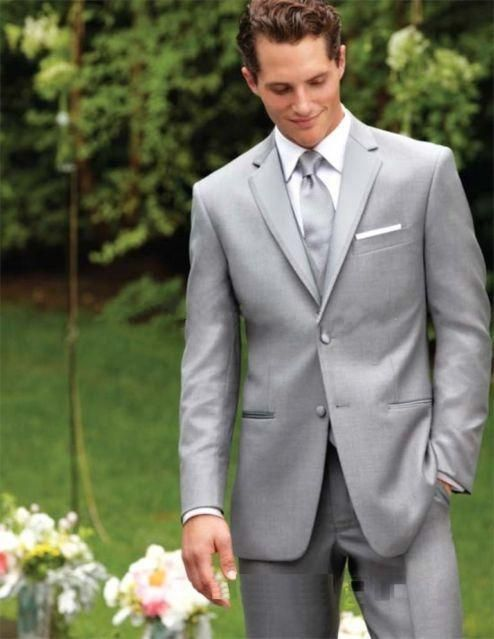 Two buttons, light grey clothes, collar, cut, groom, wedding, best men's suit, tail coat (jacket + pants + vest, tie)