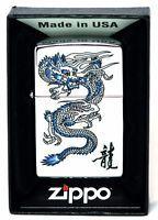 New Zippo Lighter Blue Dragon High Polish Chrome Good Luck Charm Made in USA