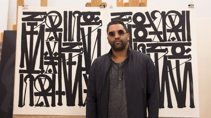 "Retna posing in front of his diptych of lithographs ""Say My Name, So You Can See Me"". Discover more here."
