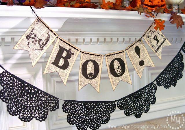 Book Page BOO Banner {FREE Printable} #halloween