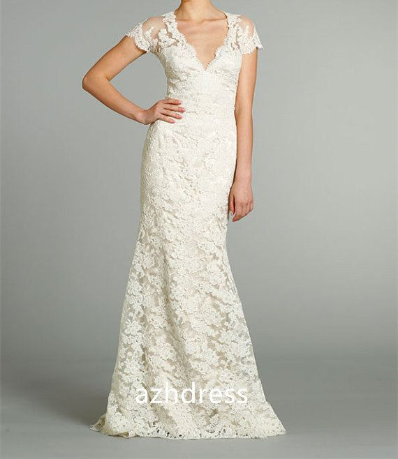 Vneck Long Lace Wedding Dress with Short Sleeves by azhdress, $255.00
