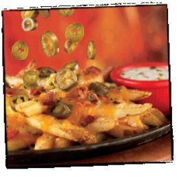 Texas Cheese Fries - Homestyle fries topped with melted cheese, jalapeno peppers, crispy bacon and jalapeno ranch dressing.