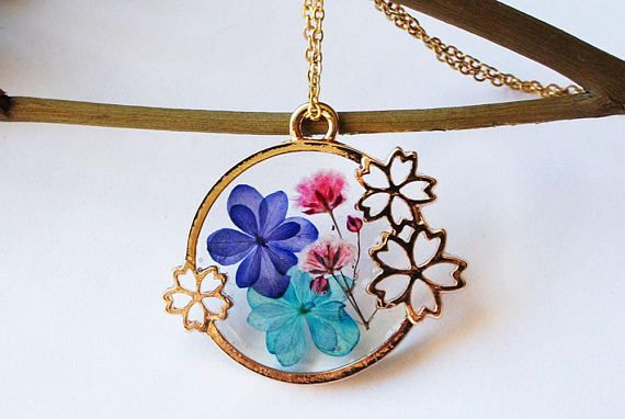 Blue Hydrangea Baby's breath necklace Resin necklace