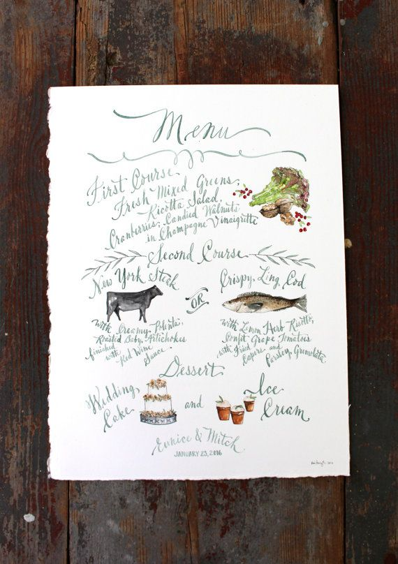 Custom wedding menu with watercolor illustrations