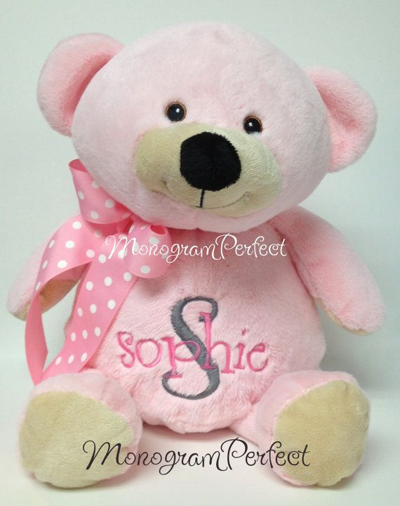 9 best personalized stuffed animals images on pinterest stuffed personalized pink plush soft toy teddy bear baby gift negle Gallery