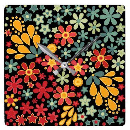Retro.  Floral motifs 2 Square Wall Clock - pattern sample design template diy cyo customize