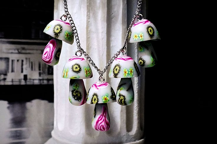 Hippie hippies clothing mushrooms necklace psychedelic trance boho chic pendant festival costumes neon anniversary birthday gift psilocybe