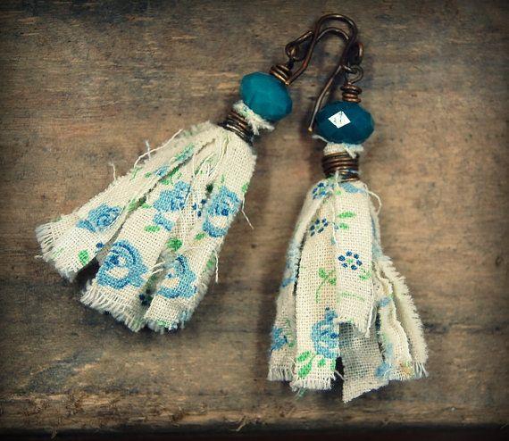 Bohemian Tassel Earrings, Vintage Fabric Earrings, Gypsy, Boho, Hippie Earrings, Fiber Earrings, Wire Wrapped Handmade Fabric Earrings