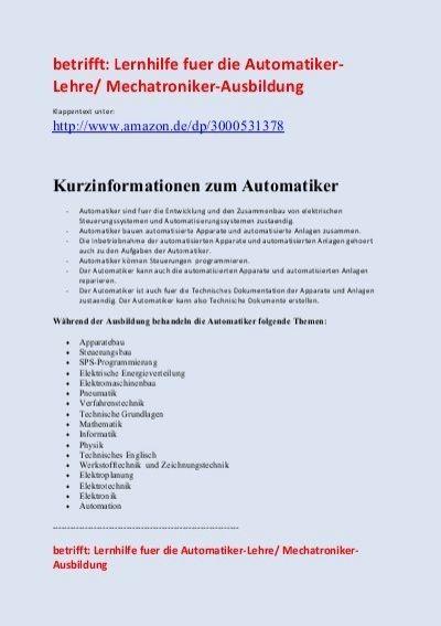 etrifft: Lernhilfe fuer die Automatiker- Lehre/ Mechatroniker-Ausbildung