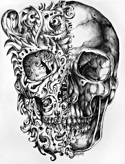 Skull drawings by René Campbell 1so interesting. I like the swirl designs ...but the skull is still creepy