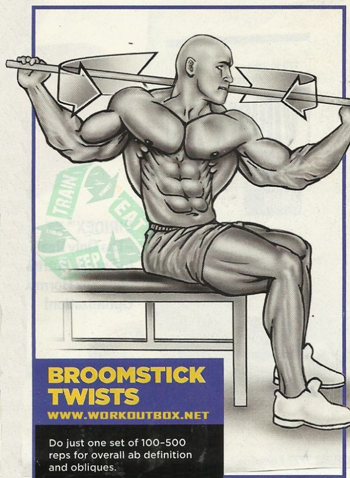 Ab Exercises - Broomstick Twists - Fitness Workouts Gym Healthy