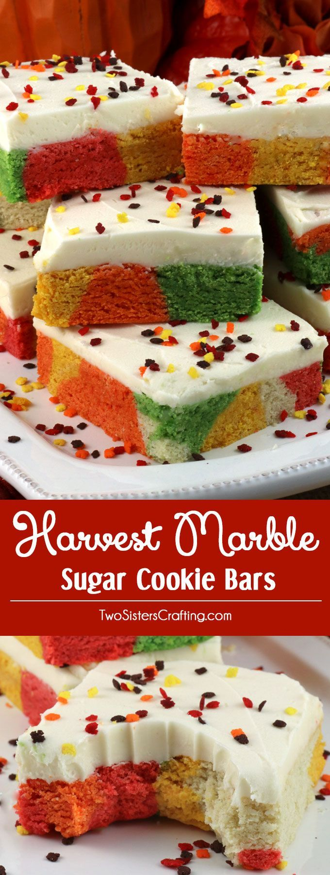 Harvest Marble Sugar Cookie Bars- a unique take on a Frosted Sugar Cookie in gorgeous fall colors and topped with yummy buttercream frosting. A great Fall Treat or Thanksgiving Dessert. Make your family a Marble Dessert Bar that they are sure to love! Pin this Thanksgiving treat for later and follow us for more more great Thanksgiving Food ideas.