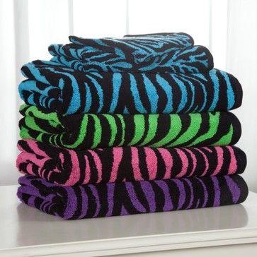 Pink Zebra Print Bathroom Towel Set Divatex 100 Cotton 6 Piece Bath